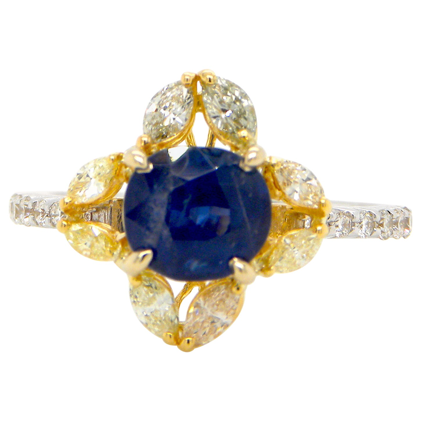 1.65 Carat Unheated Burmese Blue Sapphire and Diamond Gold Engagement Ring
