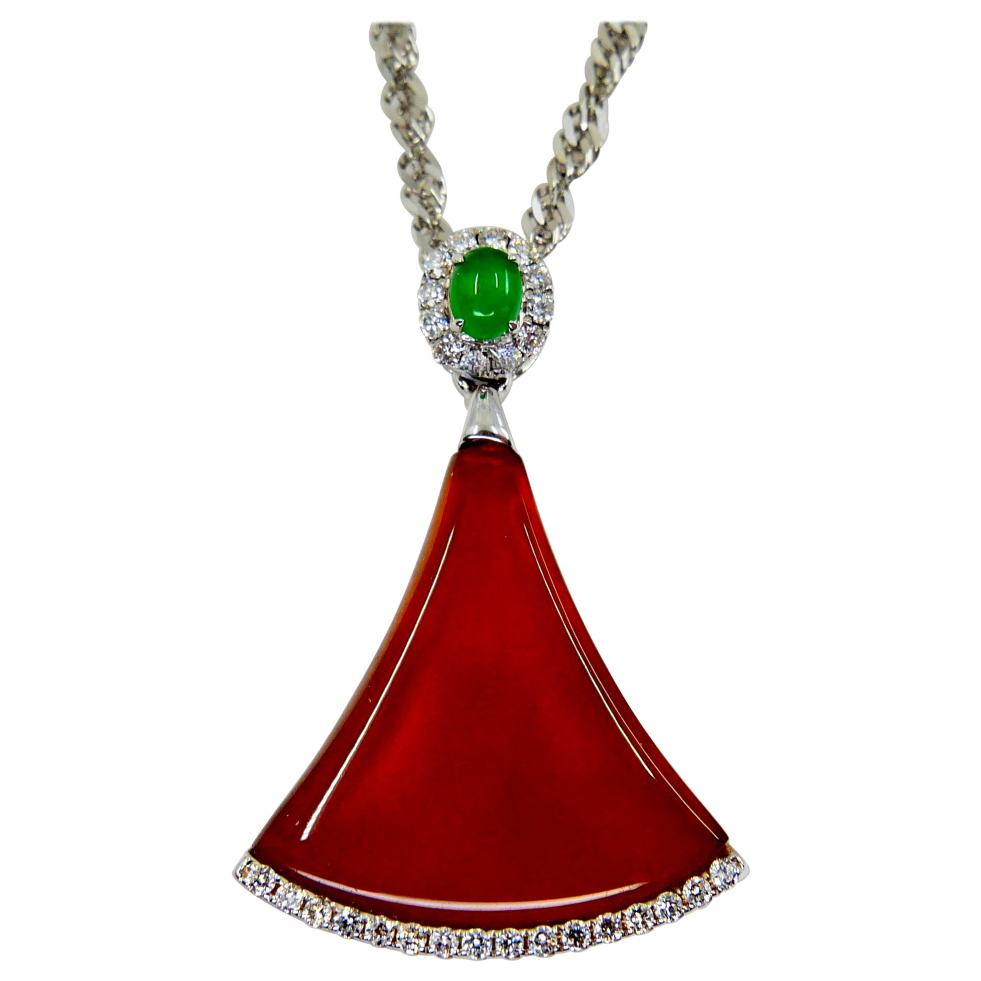 Certified Natural Icy Apple Green, Icy Red Jade & Diamond Pendant Drop Necklace