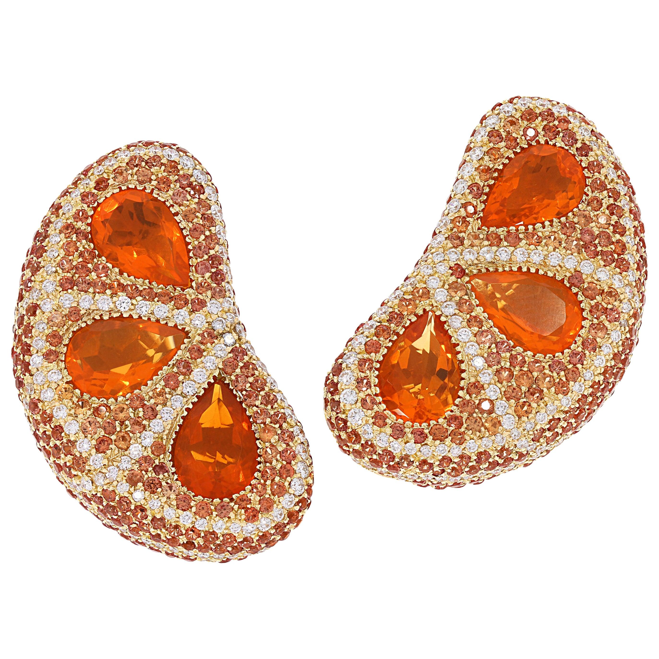 """Pear Cut Fire Opal, Sapphire and Diamond """"Orange"""" Drop Earrings"""