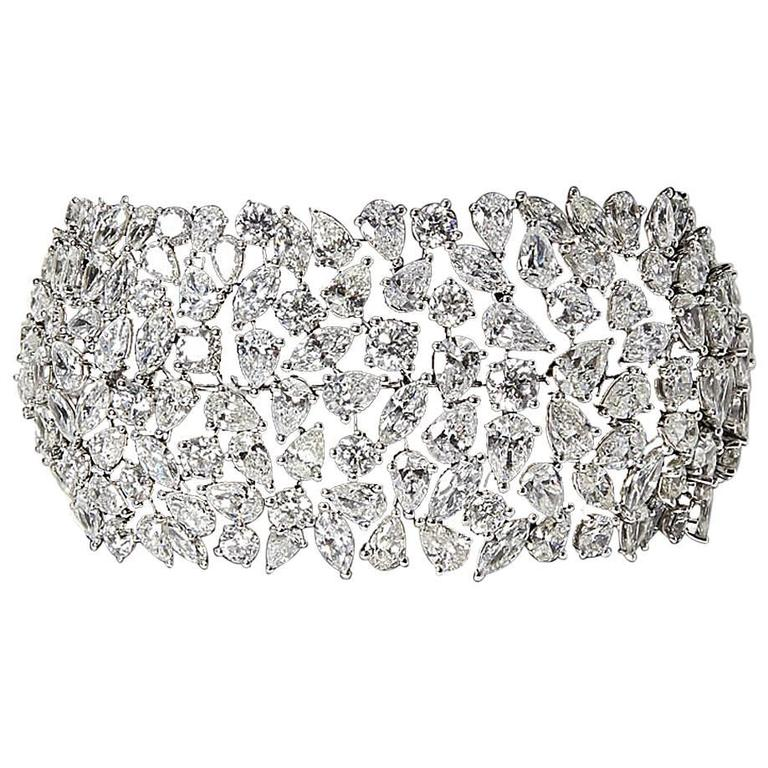 Incredible Multi Shape Wide Diamond Gold Bracelet