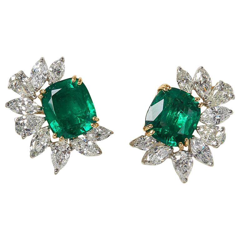 Fine GIA certified  Emerald Diamond Gold Platinum Cluster Earclips