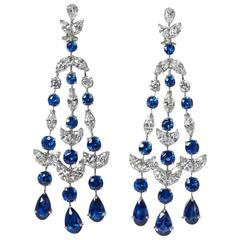 Sapphire Diamond Platinum Chandelier Earrings
