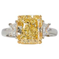 4 carat GIA certified Fancy Light Yellow Diamond Platinum Ring
