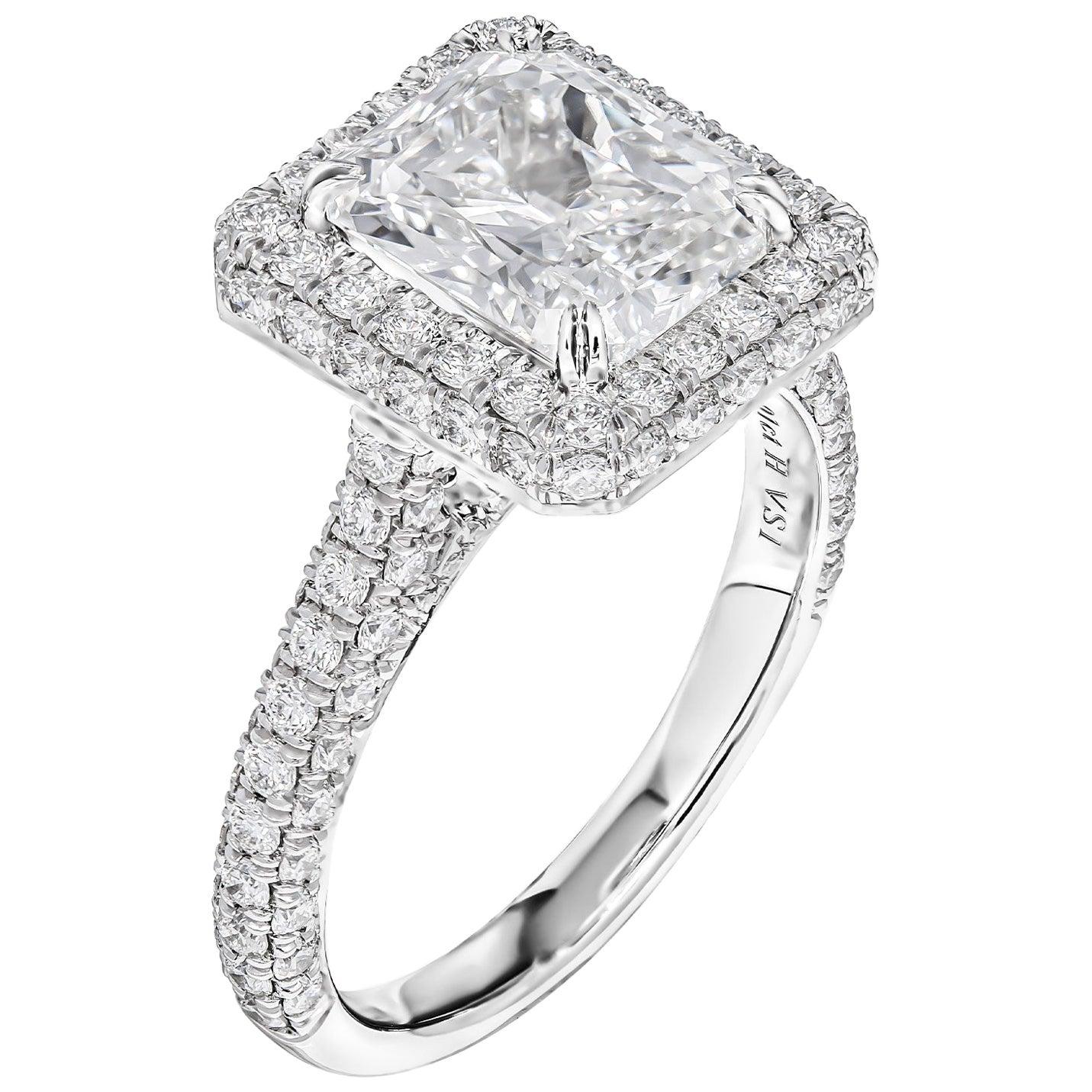 GIA Certified Platinum Ring with 3.01 Carat Radiant Cut Diamond