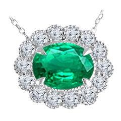 DiamondTown 1.37 Carat Oval Cut Emerald and 0.42 Ct Diamond Milgrain Flower