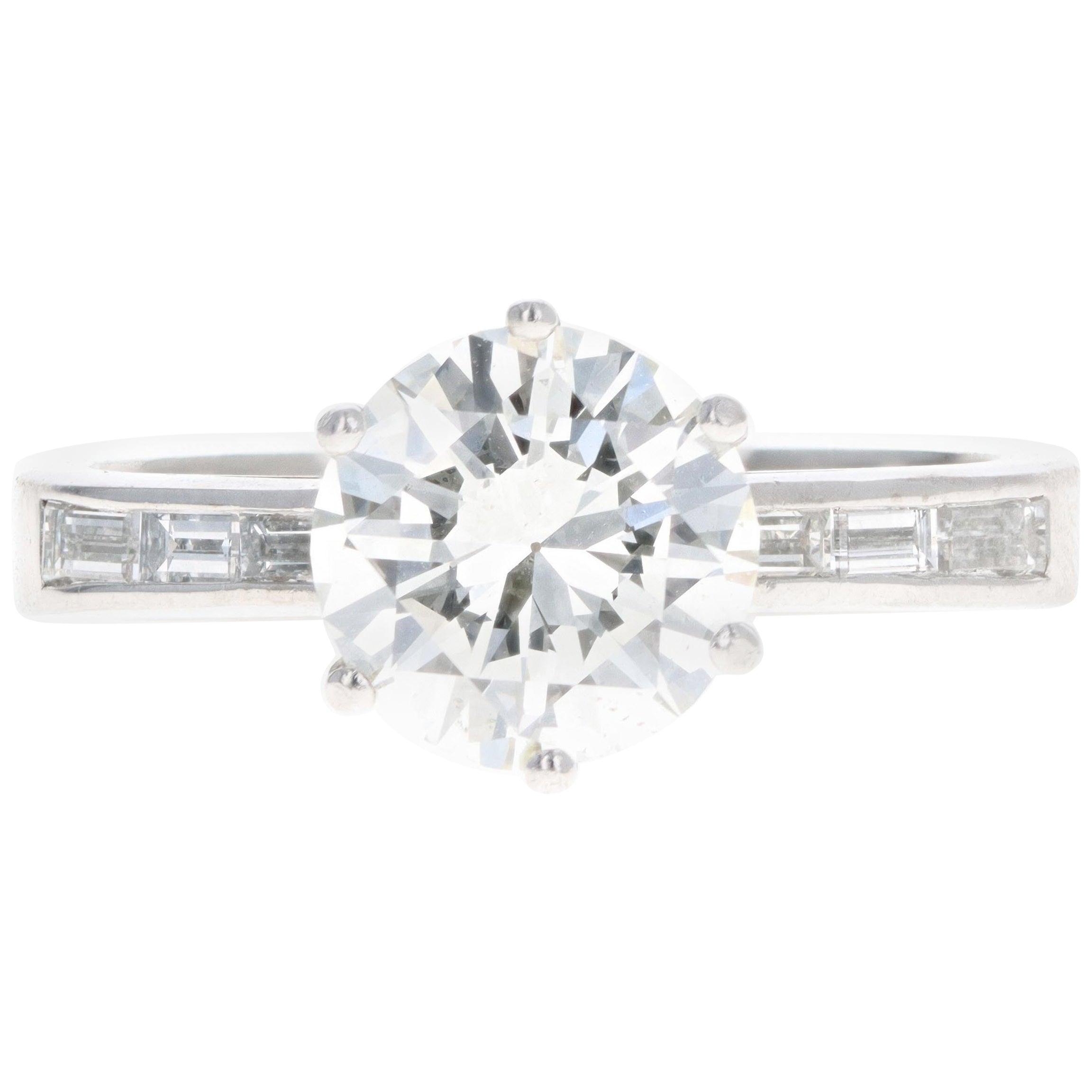 18K White Gold 1.85 Carat Round Brilliant Diamond Engagement Ring