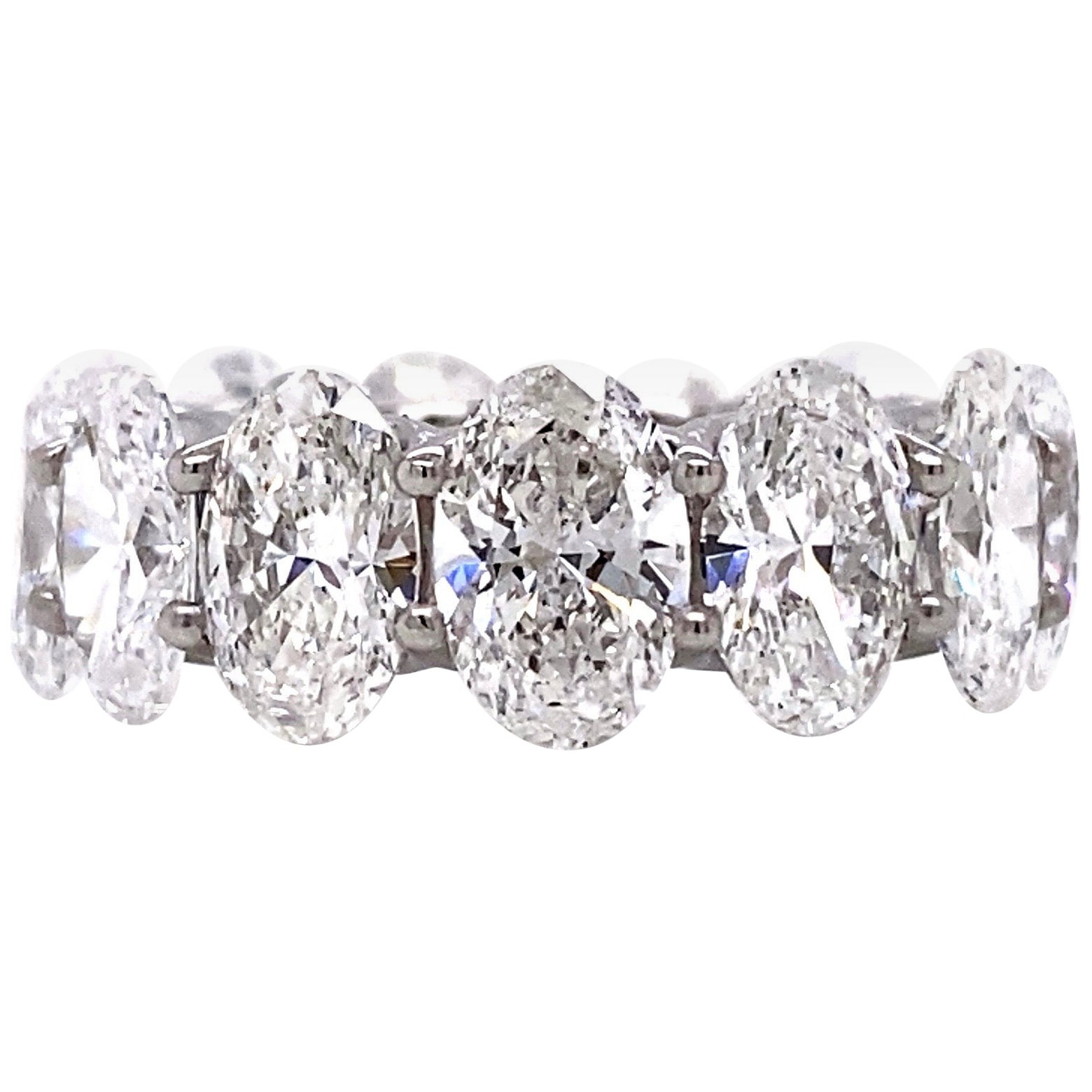 Emilio Jewelry .75 Carat Each Diamond GIA Certified Oval Eternity Ring