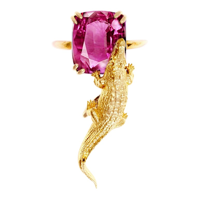 18 Karat Yellow Gold Ring by Artist with GRS Cert. 3.64 Cts. Perfect Pink Spinel