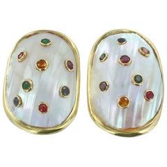 Mother-of-Pearl Multi-Color Gemstone Earrings
