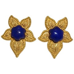 Renato Cipullo Lapis Yellow Gold Flower Earrings