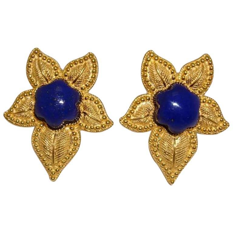 Renato Cipullo Lapis Yellow Gold Flower Earrings