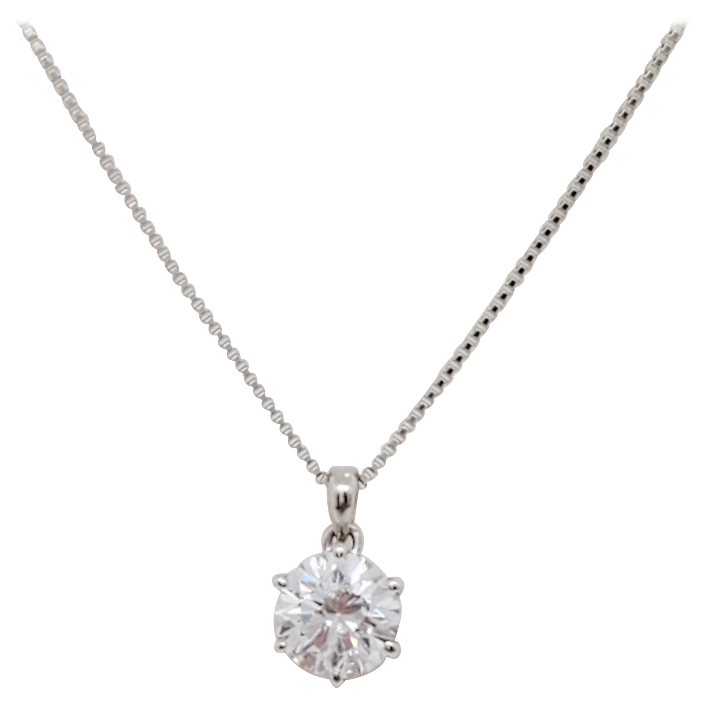 Estate White Diamond Solitaire Pendant Necklace in Platinum