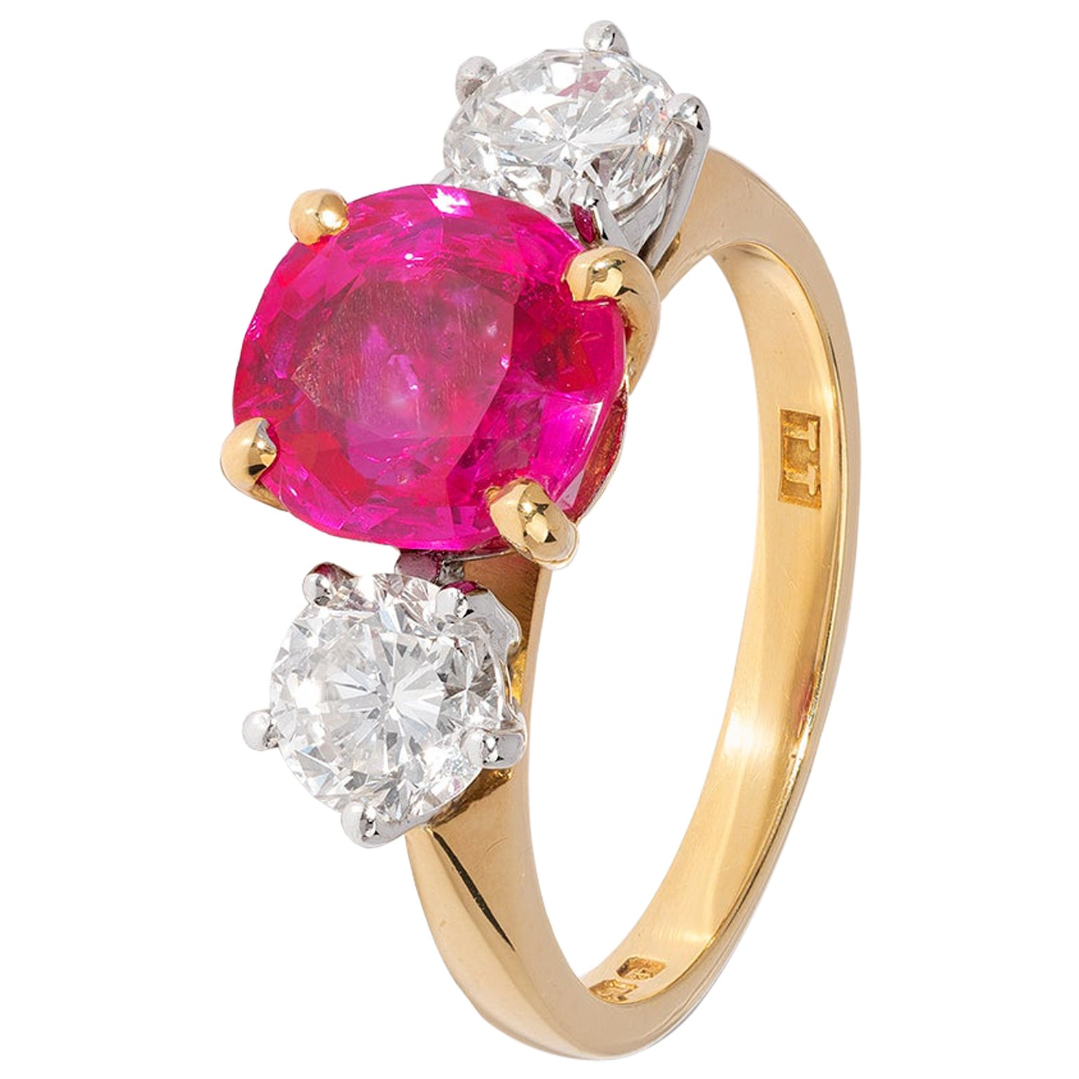 Ruby and Diamond 3 Stone Ring in Yellow Gold