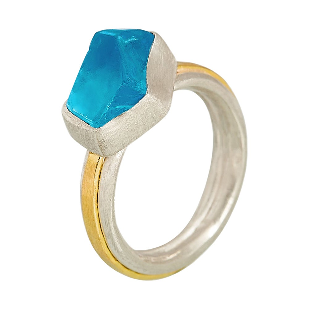 Blue Topaz Ring in Silver and 18 Karat Gold