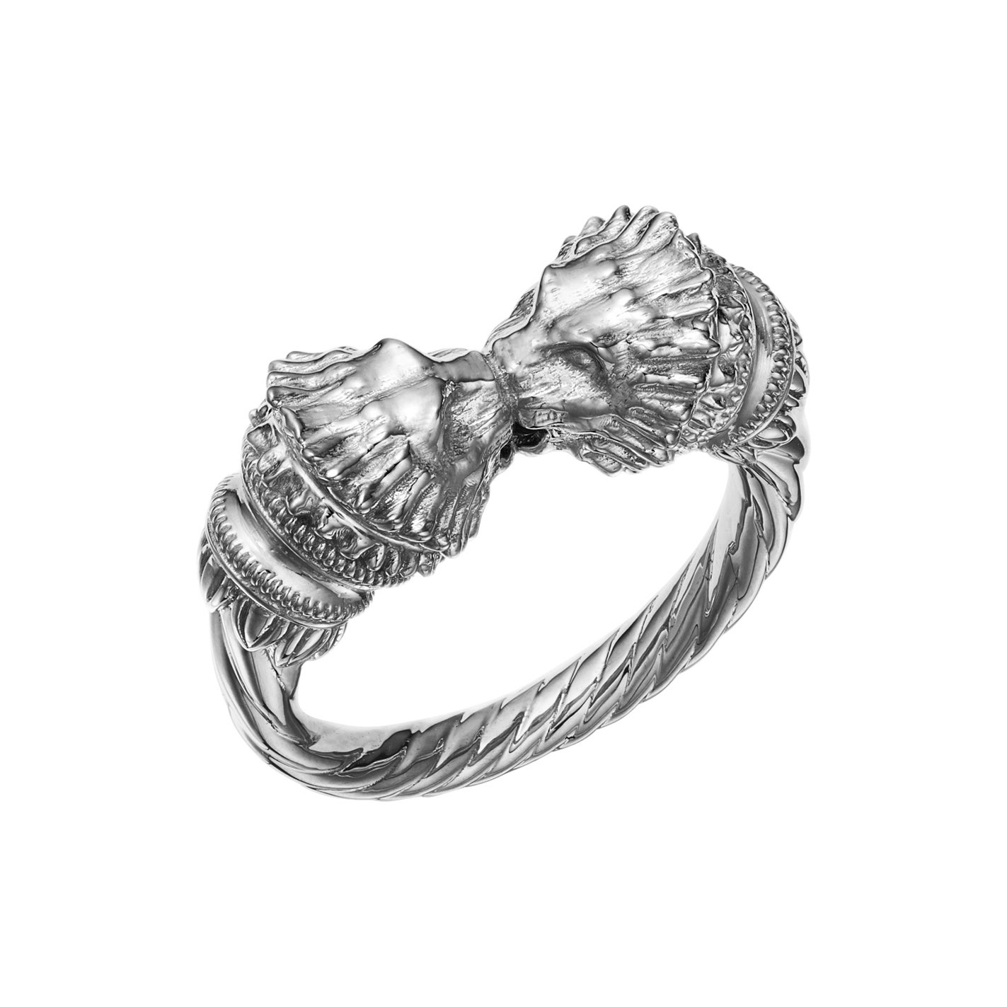 18kt Fairmined Ecological Gold Greek Lion Ring in White Gold