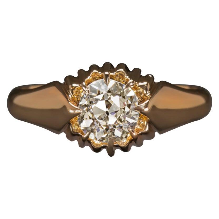 0.62Carat I Color VS2 Clarity Diamond Engagement Ring Old European Cut Rose Gold