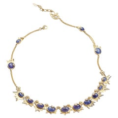 Sagrada Crescent Necklace in 20K Yellow Gold with Diamonds and Tanzanite