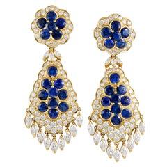 Van Cleef & Arpels Sapphire Diamond Gold Ear Clips