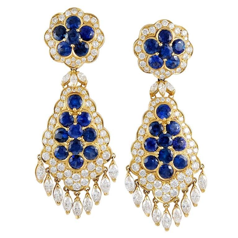 Van Cleef & Arpels Sapphire Diamond Gold Ear Clips For Sale