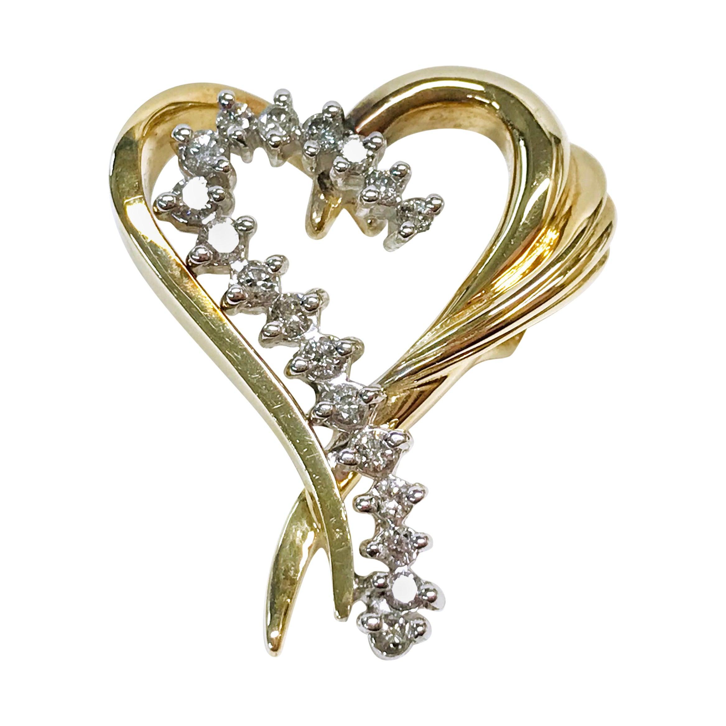 14 Karat Diamond Heart Slide Pendant