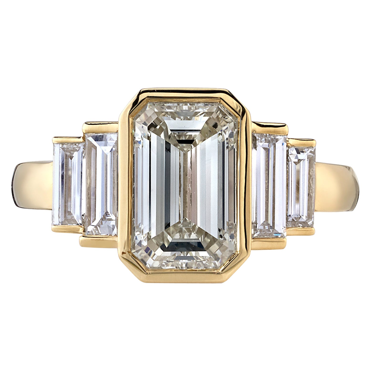2.00 Carat Emerald Cut Diamond Set in a Handcrafted Yellow Gold Engagement Ring