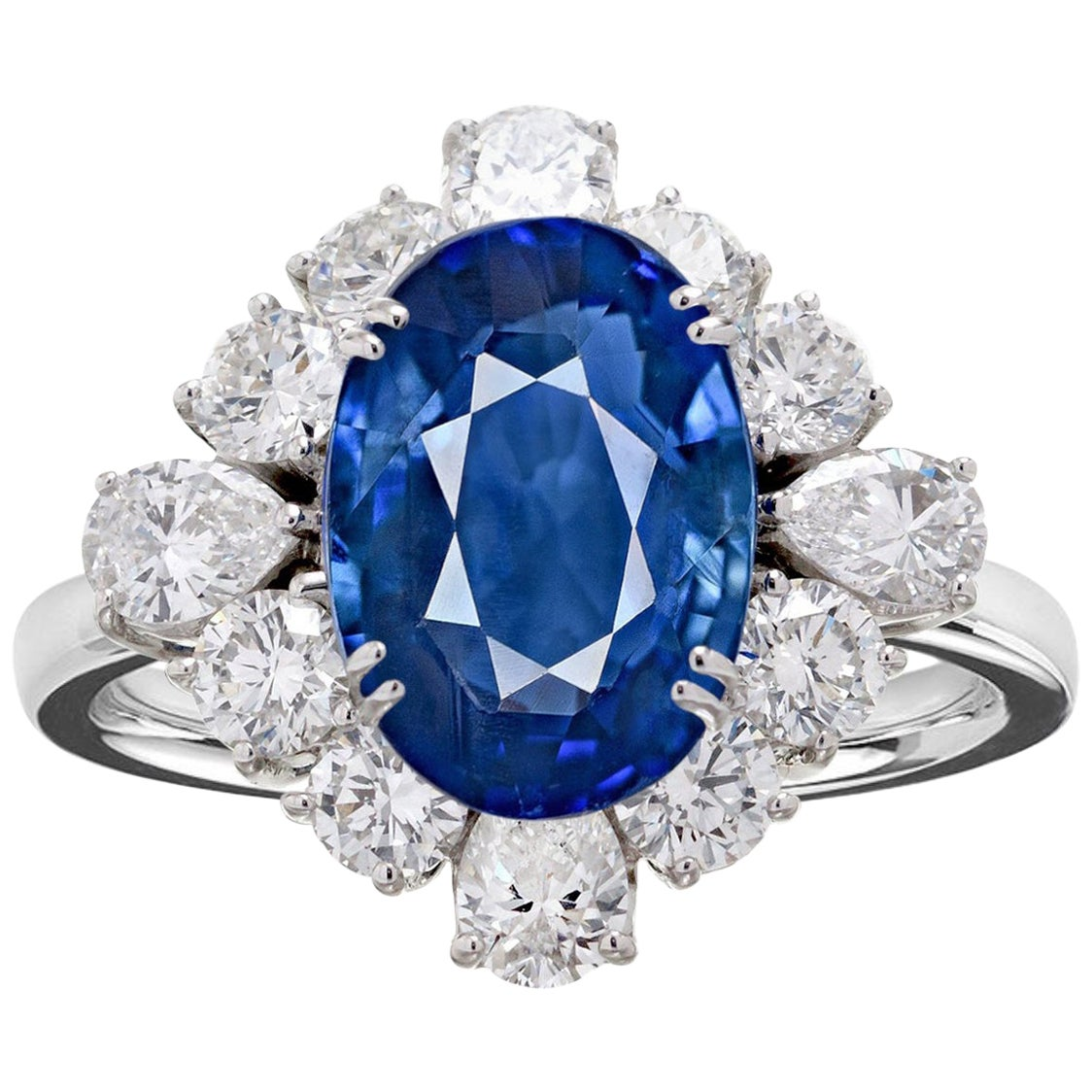 Exceptional GRS Certified 5.00 Carat Sri-Lanka Blue Sapphire Cocktail Ring