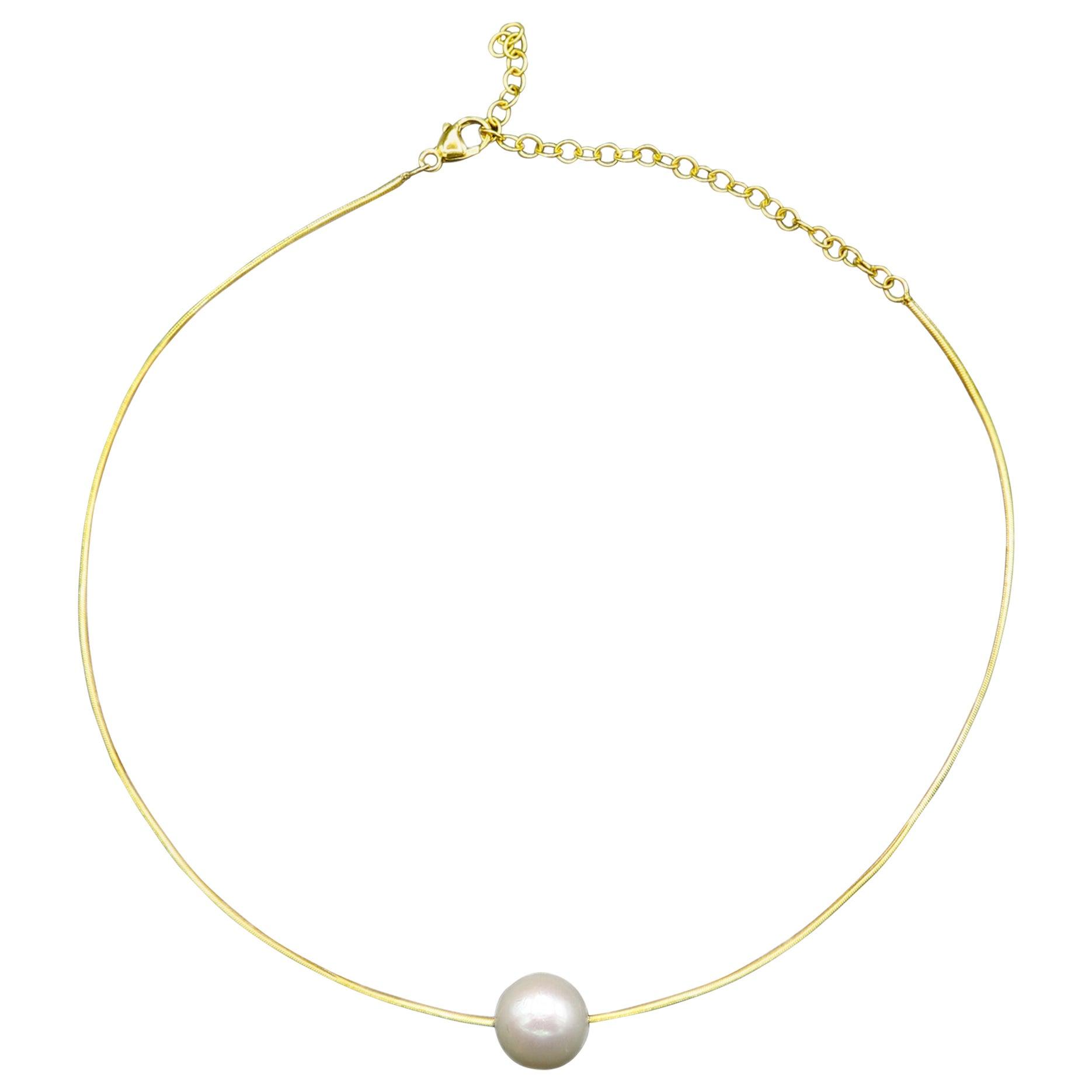 Pearl Choker 18 Karat Yellow Gold Contemporary Gold Choker Pearl