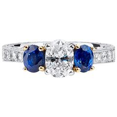 Platinum and 18kt Yellow Gold GIA Certified Diamond and Sapphire Ring