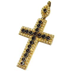 Exquisite Large Victorian Banded Agate Natural Pearl Gold Cross Charm Pendant