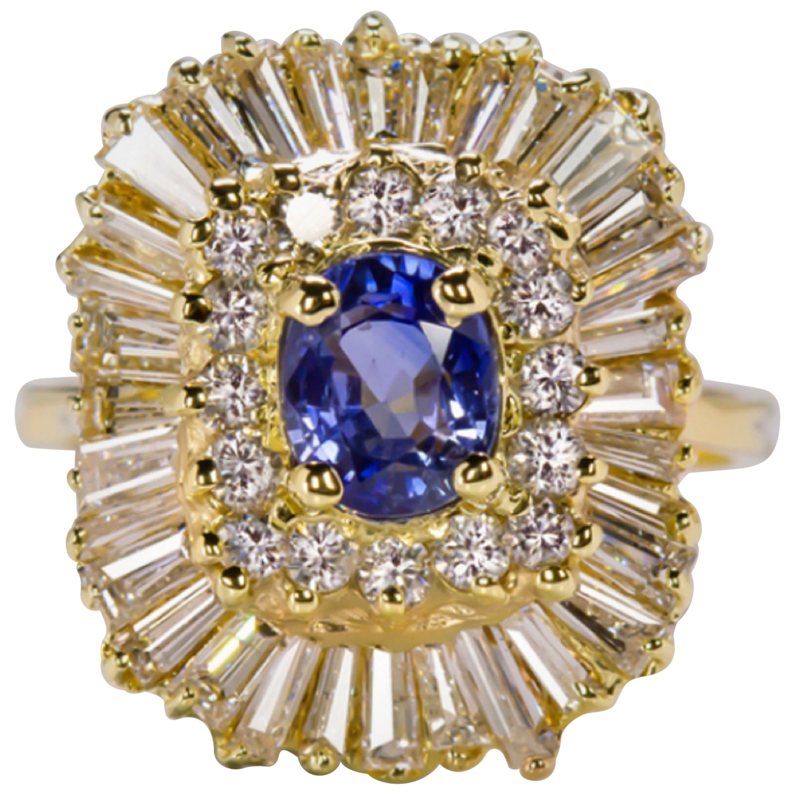 Blue Sapphire and White Diamond 5.70 Carat Cocktail Gold Ring