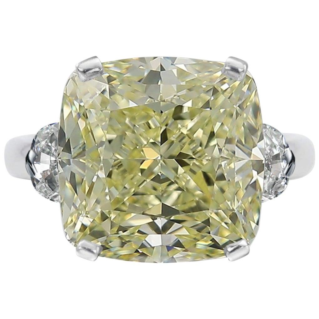 GIA Certified 6.50 Carat Fancy Light Yellow Cushion Diamond Ring VS Clarity