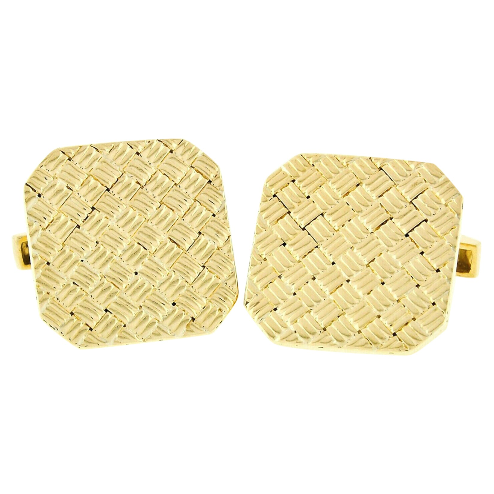 Vintage Tiffany & Co. 18k Yellow Gold Squared Woven Basket Pattern Cuff Links