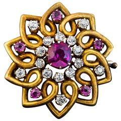Antique Russian Ruby Diamond Gold Brooch Pin C1890
