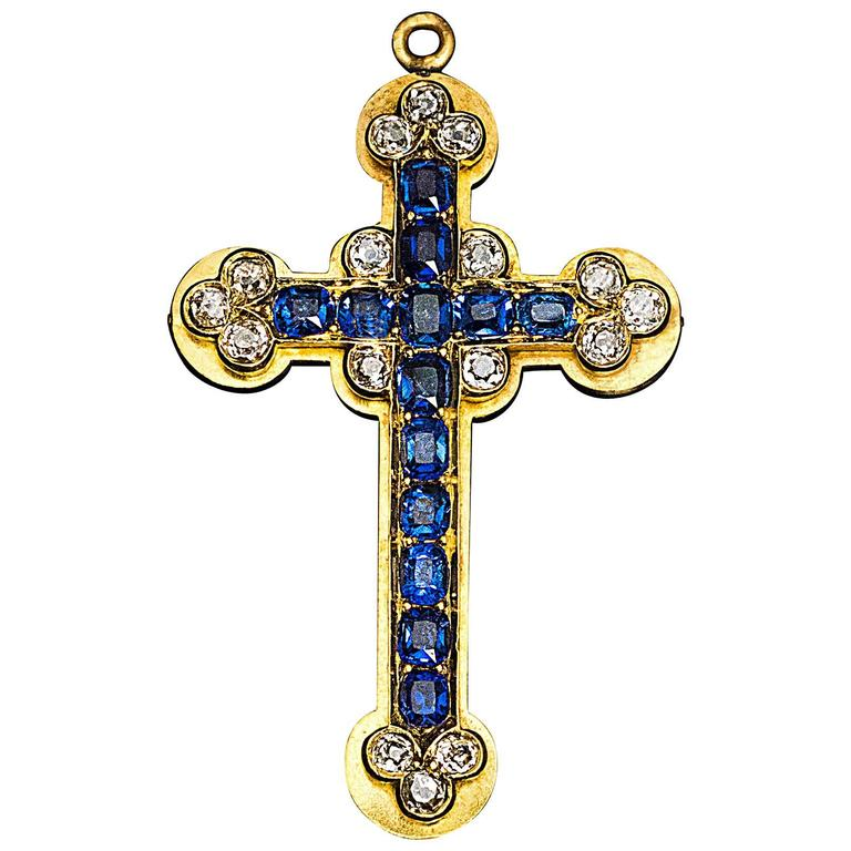 antique russian sapphire gold cross pendant at 1stdibs
