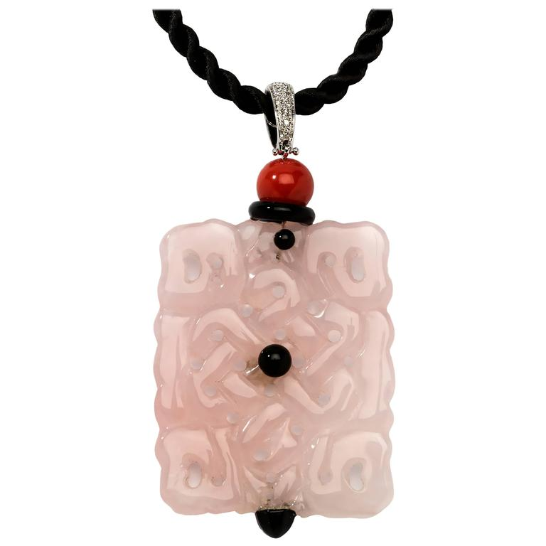 1970s Pink Jade Diamond Gold Pendant