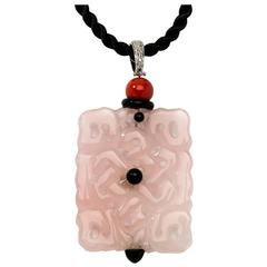 1970s Pink Jade Diamond Gold Pendant