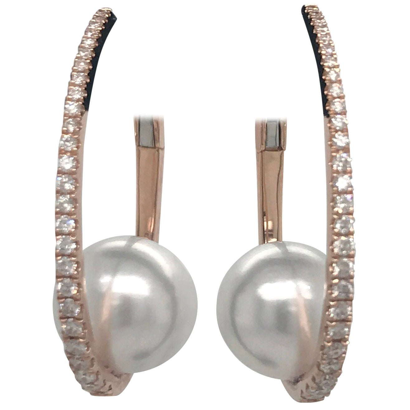 Diamond South Sea Pearl Hoop Earrings 0.55 Carat 18 Karat Rose Gold
