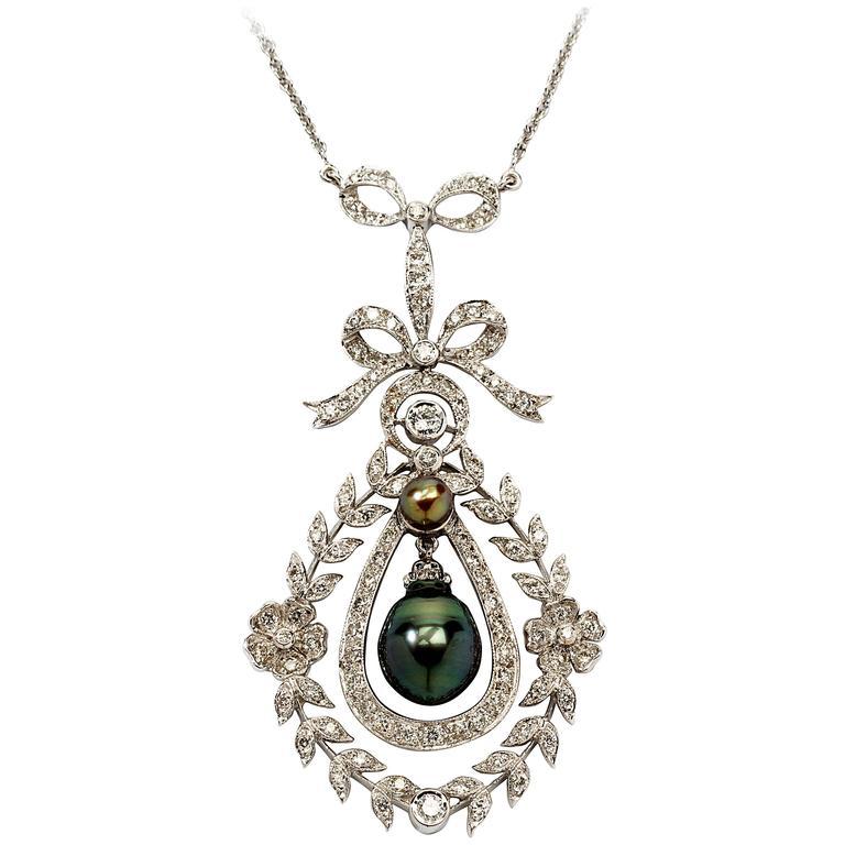 Filigree Pearl Diamond Gold Pendant with Chain
