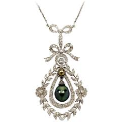 Filigree Pearl Diamond Gold Pendant with Chain