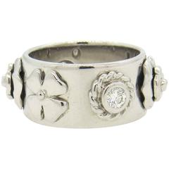 Chanel Camellia Diamond Gold Band Ring