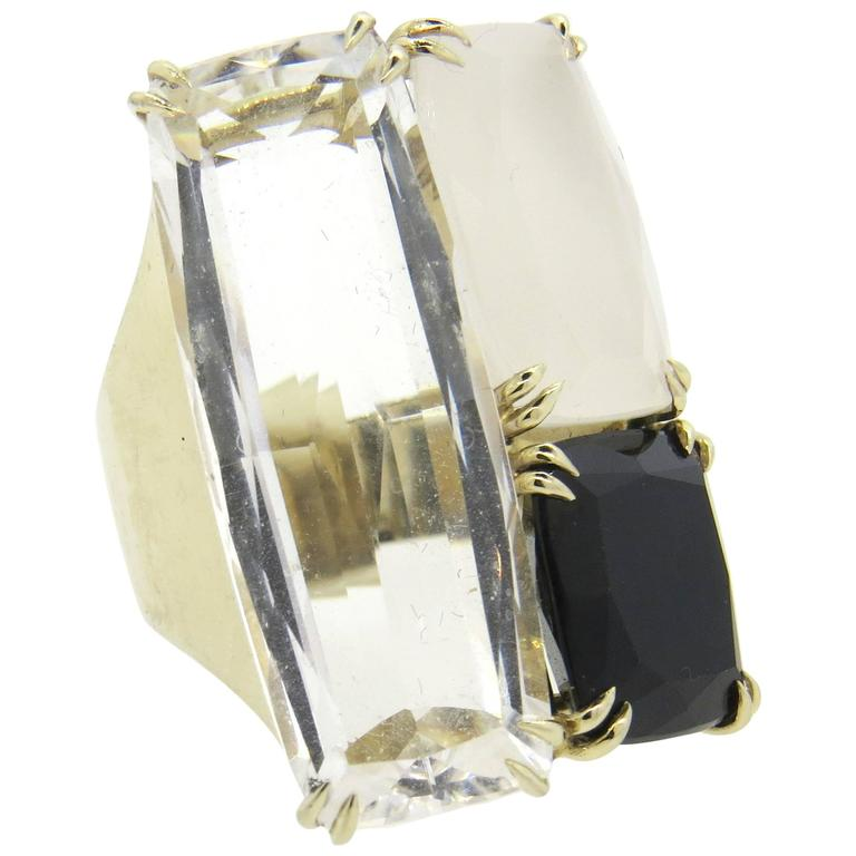 Impressive H Stern Cobblestone Multicolor Quartz Diamond Gold Large Ring