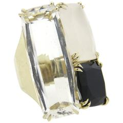 Impressive H Stern Cobblestone Multicolor Quartz Diamond Gold Large Ring