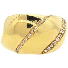 Bucherer Large Diamond Gold Dome Ring