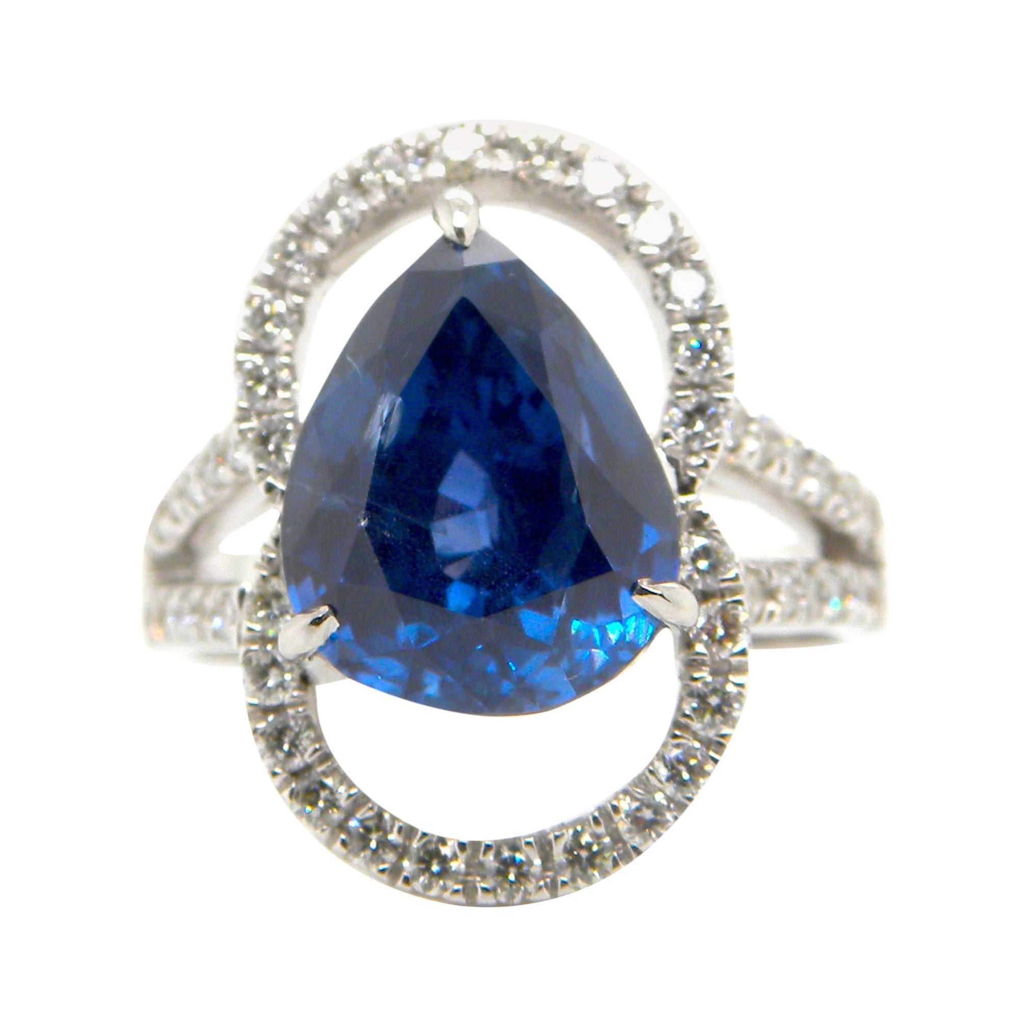 6.07 Carat GRS Certified Unheated Burmese Sapphire and White Diamond Ring
