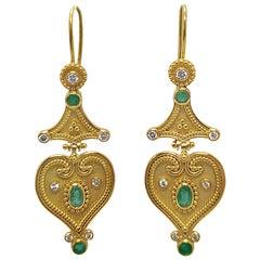 Georgios Collections 18 Karat Yellow Gold Diamond Emerald Drop Earrings