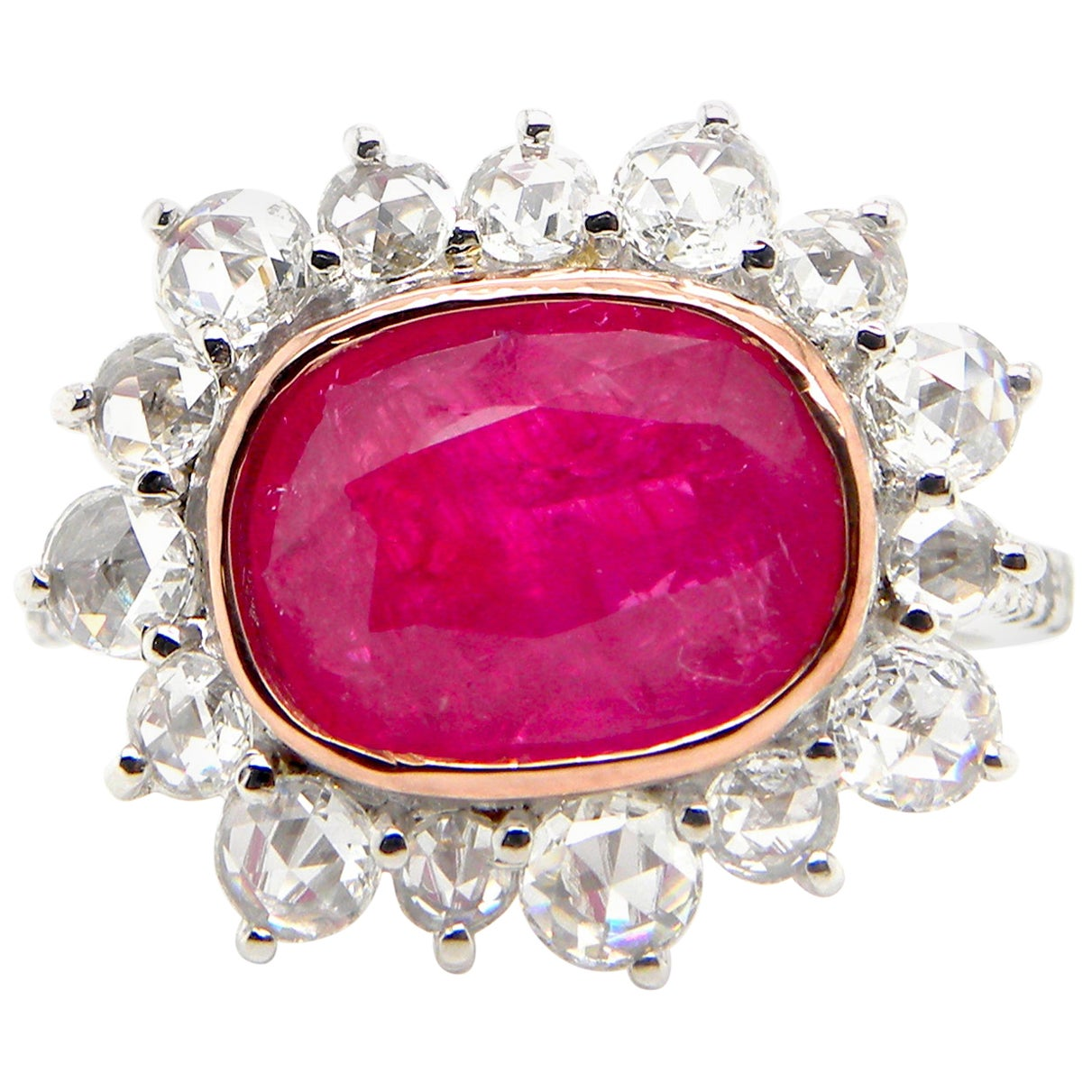 4.15 Carat GRS Certified Unheated Burmese 'Mogok' Ruby and White Diamond Ring