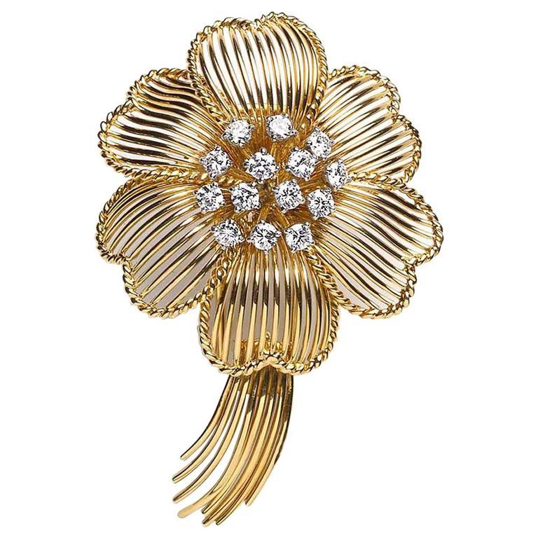 1960s Cartier Diamond Gold Flower Brooch For Sale