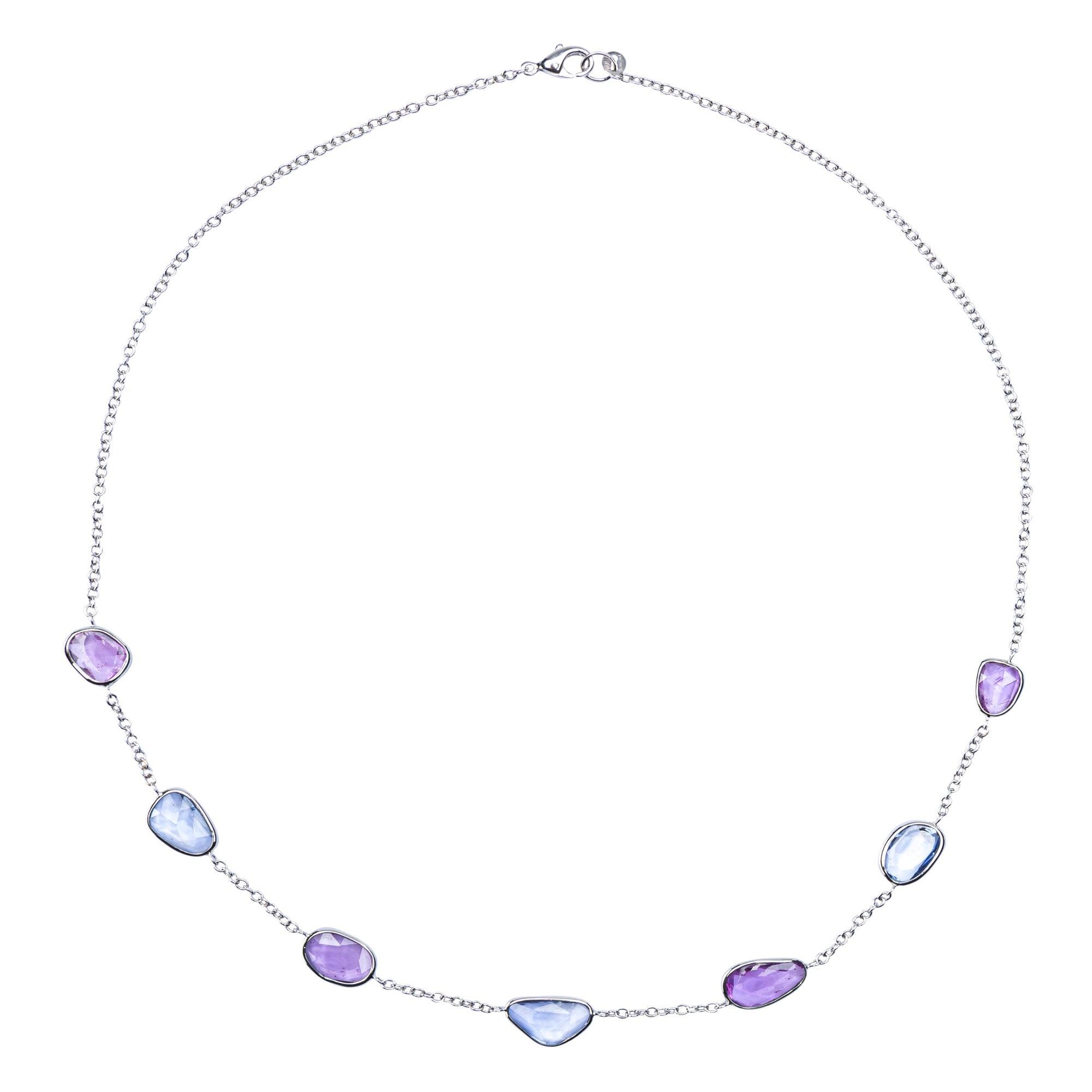 Alex Jona Blue Pink Sapphire 18 Karat White Gold Necklace