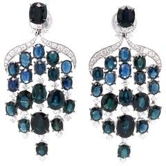 Vitale 1913 18 Karat White Gold Sapphire Diamond Chandelier Earrings