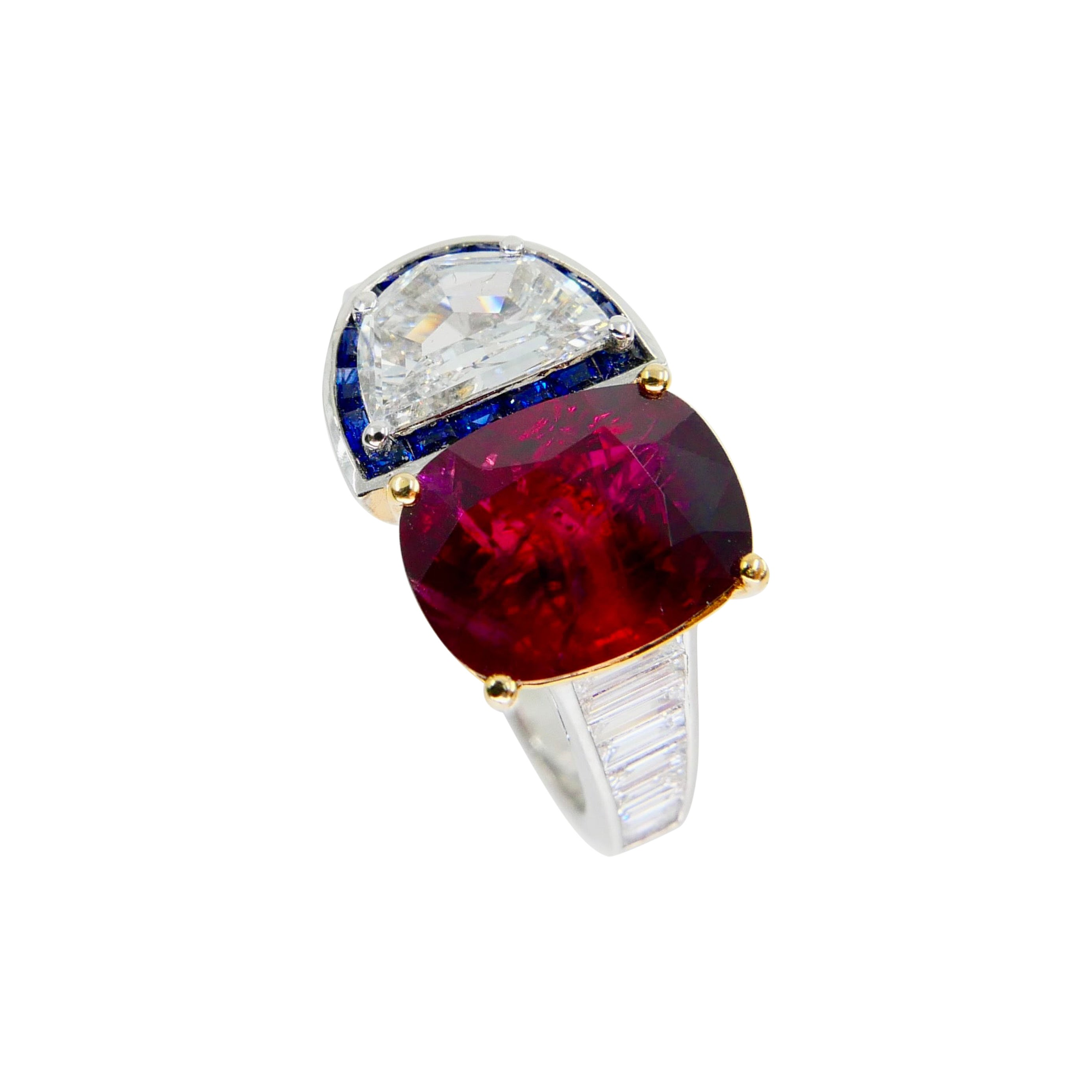 GRS Certified 2.4cts Burma No Heat Pigeon's Blood Red Ruby and Diamond Ring